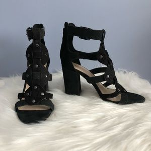 Nine West Black Suede Cage Sandals Silver Buttons